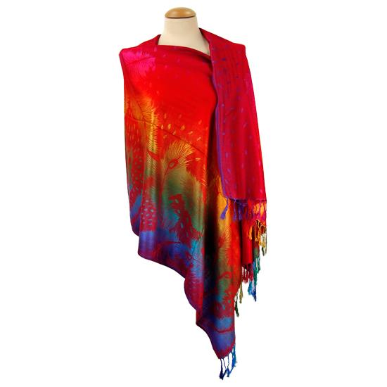 Regenbogen Schal mit Pfauendruck